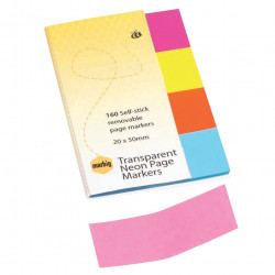 MARBIG PAGE MARKER NEON TRANSPARENT 20 X 50MM 160 PER PACK