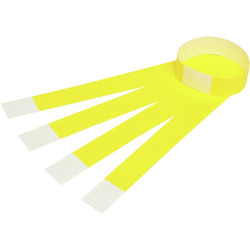 REXEL WRIST BANDS FLUORO YELLOW WITH SERIAL NUMBER PKT 100