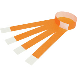 REXEL WRIST BANDS FLUORO ORANGE WITH SERIAL NUMBER PKT 100